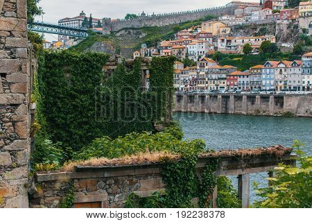 Abandoned buildings at old part of Porto, Portugal.