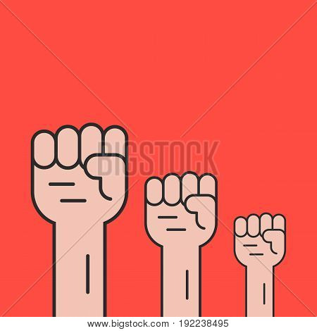 hands up like revolution protest. concept of communism, socialism, soviet, radical, patriotic, solidarity, uprising. isolated on red background. flat style trend modern logo design vector illustration