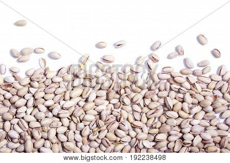 Dry Pistachios On White Background