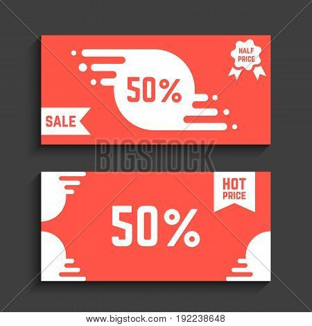 red flyers with discounts. concept of booklet, black friday sale, holiday, message, pricing, footer, company cover. isolated on black background. flat style trend modern design vector illustration