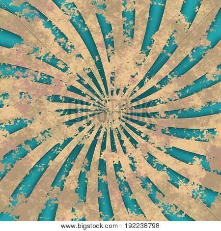 Weathered grungy turquoise blue obsolete rays swirl radial image