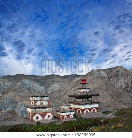 Ancient Bon stupa in Saldang village, Dolpo, Nepal