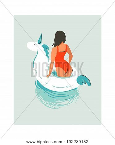 Hand drawn vector abstract cute summer time fun beach young girl illustration with unicorn swimming pool float rubber ring in water isolated on blue background.