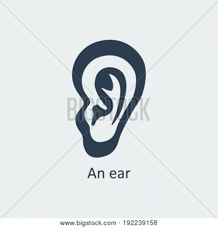 An ear icon. Human organs. Symbol for your design