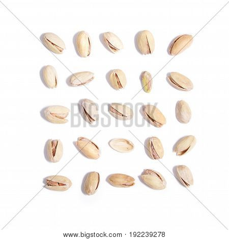Salty Pistachios On White Background Set