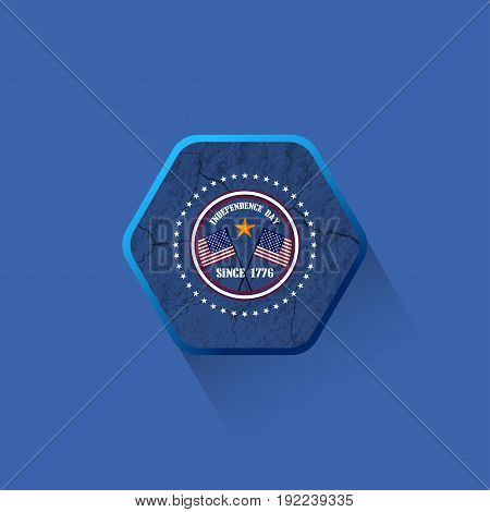 Vector flat hexagon label of Independence Day with texture of cracked ground on the dark blue background.