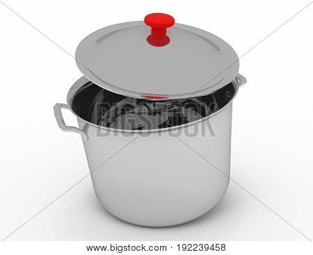 3D Kitchen Pan Concept. 3D Rendered Illustration