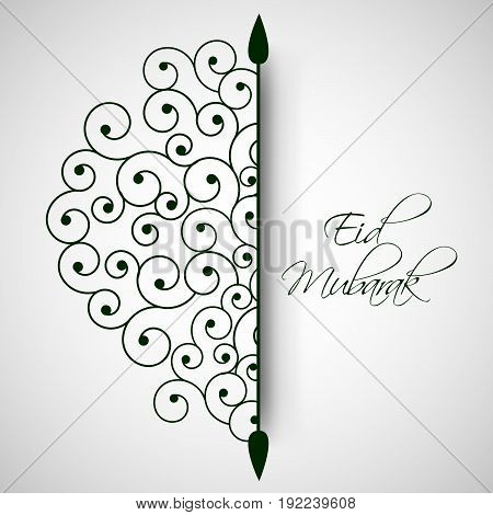 illustration of floral with Eid Mubarak text on the occasion of Muslim festival Eid
