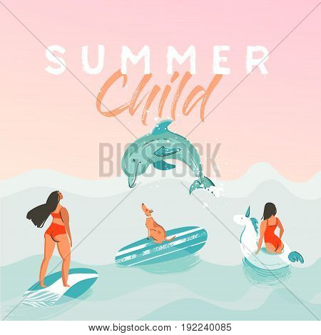 Hand drawn vector abstract summer time funny illustration poster with surfer girls in white unicorn float circle, bikini with dog on blue ocean waves texture and modern calligraphy quote Summer Child.