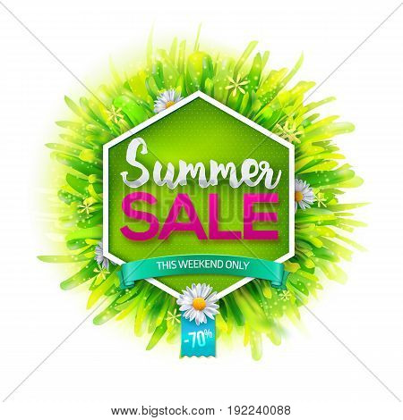 Summer sale label. Geometric background with realistic green grass and flowers. Vector illustration. Hand drawn typography sales offer. Best for posters, banners, tag and over advertising.
