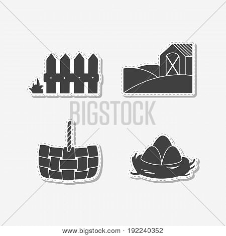 Set of hand drawn stickers with wooden fence, straw basket, eggs in nest and farm field with house. Templates for design or brand identity. Vector illustration
