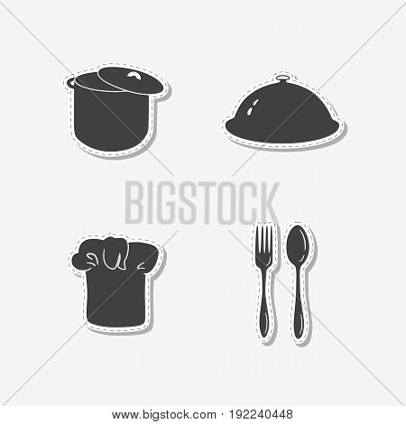 Set of hand drawn stickers with chef hat, stock pot, cloche, spoon and fork. Templates for design or brand identity. Vector illustration