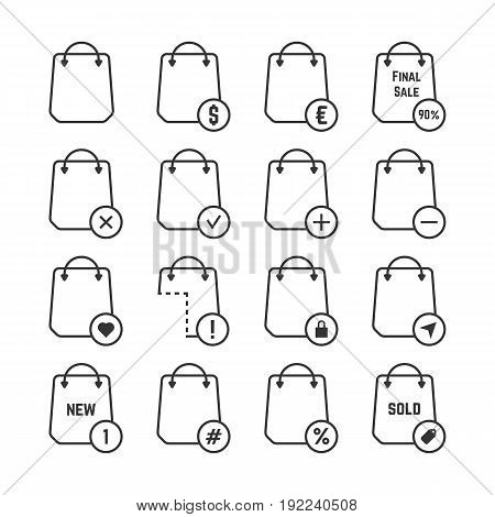 set of black thin line shopping bags. concept of packaging, travel, customer, economy, percent coupon, handbag. isolated on white background. flat style trend modern logo design vector illustration