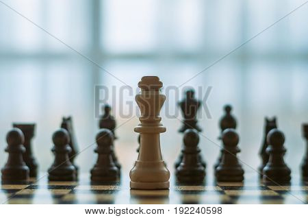 chess black and white pieces on the wooden Board