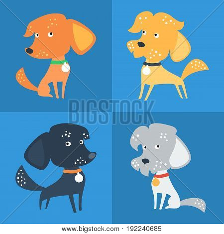 Vector Set of cartoon cute funny Mongrel or Mixed breed dog in flat style