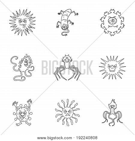 A set of pictures about bacteria and viruses. Germs that are harmful to humans. viruses and bacteria icon in set collection on outline style vector symbol stock web illustration.