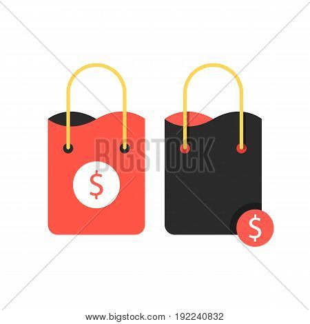two shopping bags with dollar sign. concept of packaging, travel, customer, economy, percent coupon, handbag. isolated on white background. flat style trend modern logo design vector illustration