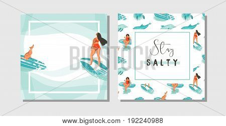 Hand drawn vector abstract exotic summer time funny save the date cards set collection template with surfer girls, surfboard and dog on on blue ocean waves water.