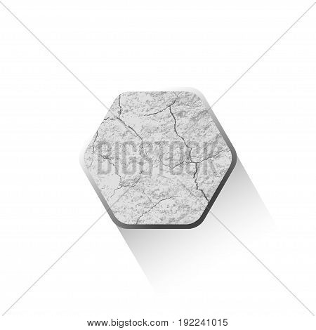 Vector blank of flat hexagon icon with texture of cracked gray stone and shadow on the white background.