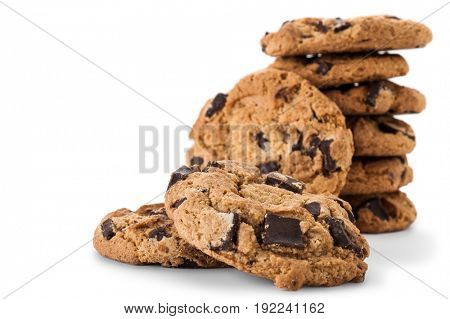 Extreme close-up image of cookies with white background