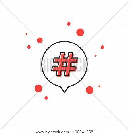 thin line hashtag icon in outline bubble. concept of number sign, social media, micro blogging, pr, popularity. isolated on white background. flat style trend modern logo design vector illustration