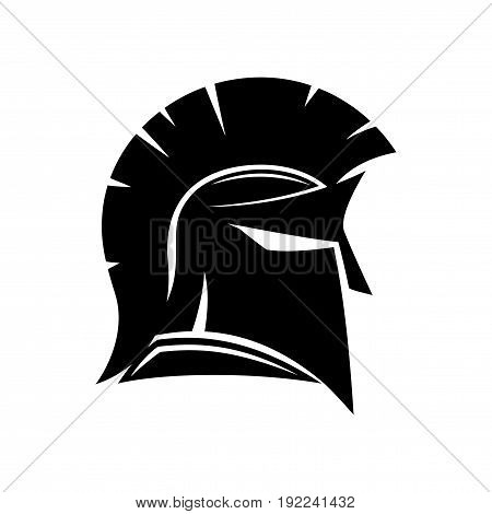 Sign of spartan helmet on a white background.