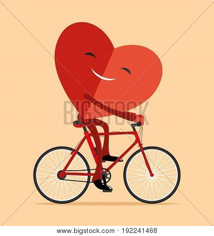 Illustration of red heart on a bicycle.