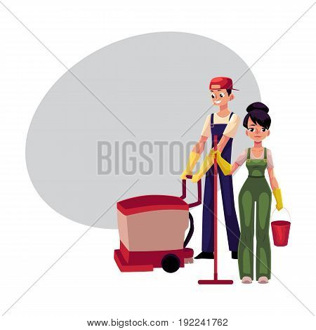 Service workers in overalls, girl with mop and bucket, man, boy using floor cleaning machine, cartoon vector illustration with space for text. Cleaning service workers washing the floor