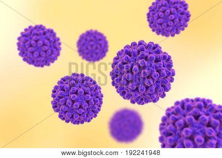 Heptitis B viruses on colorful background, 3D illustration
