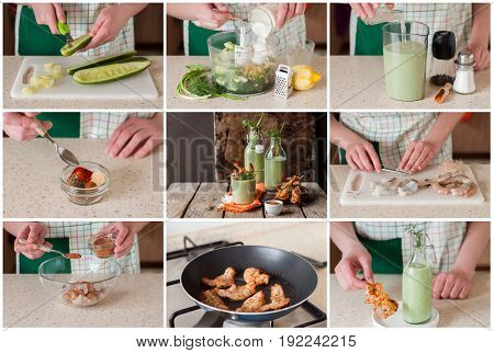 A Step By Step Collage Of Making Chilled Cucumber Soup With Prawns