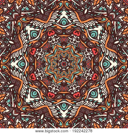 Abstract Tribal indian mosaic motif seamless pattern. Bohemian Geometric print
