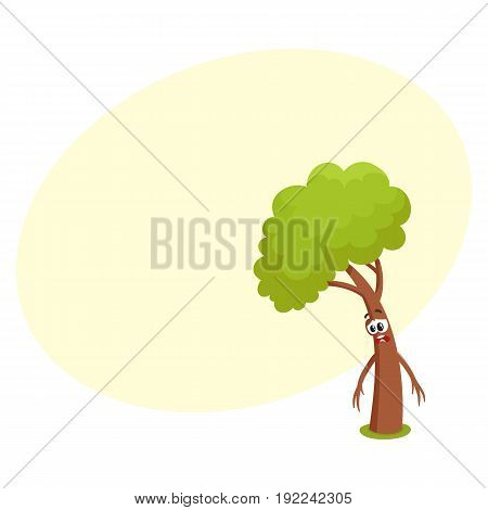 Funny comic tree character feeling sad, upset, discouraged, showing despair, cartoon vector illustration with space for text. Funny tree character, mascot with human face, feeling sad, upset