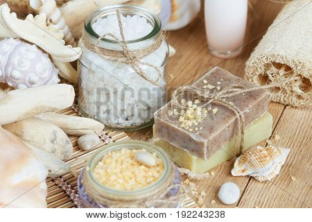 Composition of spa treatment on rustic wooden background