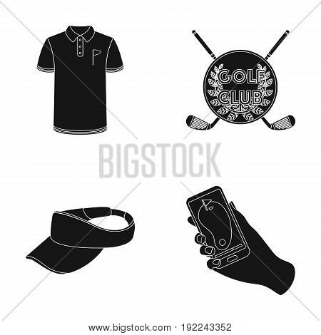 Emblem of the golf club, cap with a visor, golfer shirt, phone with a navigator.Golf club set collection icons in black style vector symbol stock illustration .