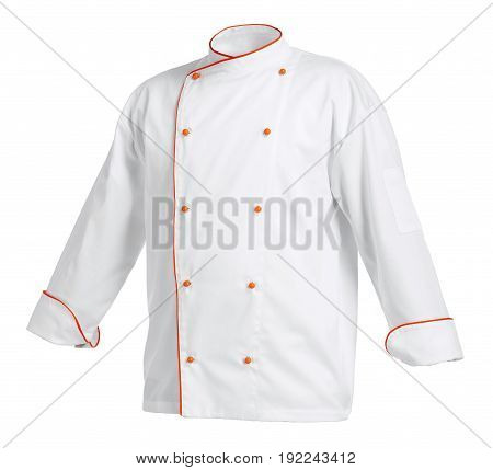 White chef cook's jacket with orange edges isolated over white background