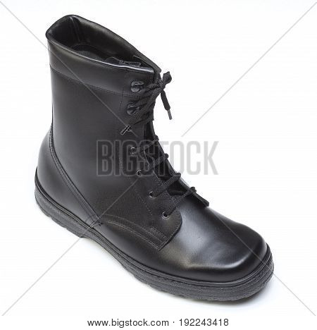 Black real leather protective shoes isolated on white