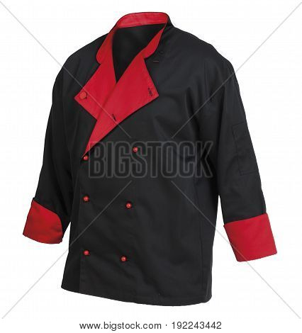 Chef cook's black and red jacket isolated over white background