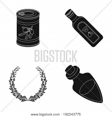 A can of canned olives, a bottle of oil with a sticker, an olive wreath, a glass jar with a cork. Olives set collection icons in black style vector symbol stock illustration .
