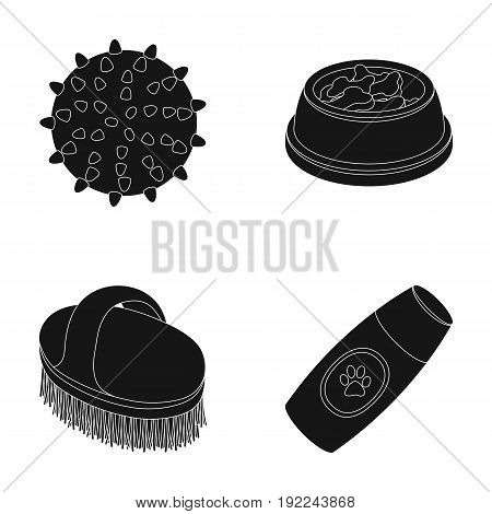 The ball, feed, shampoo and other zoo store products. Pet shop set collection icons in black style vector symbol stock illustration web.