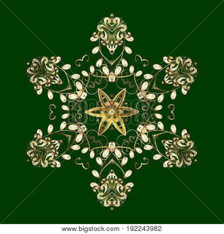 On green background. Arab Asian ottoman motifs. Simple gold snowflakes floral elements decorative ornament. Vector illustration.