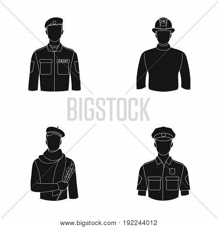 Military, fireman, artist, policeman.Profession set collection icons in black style vector symbol stock illustration .
