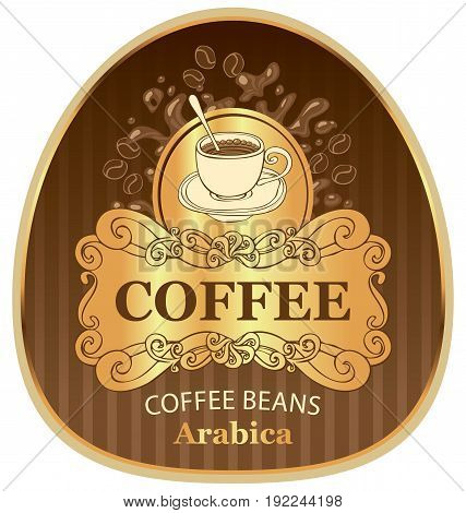 design vector label for coffee beans arabica with cup and splashes in Baroque style on the background in the gold frame