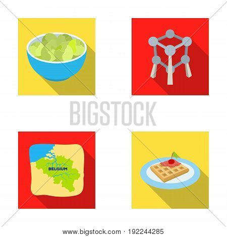 Territory on the map, brussels sprouts and other symbols of the country.Belgium set collection icons in flat style vector symbol stock illustration .