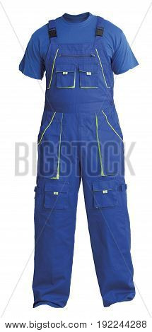 Protective workers blue trou and blue t-shirt isolated on white