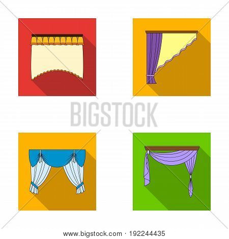 Different types of window curtains.Curtains set collection icons in flat style vector symbol stock illustration .