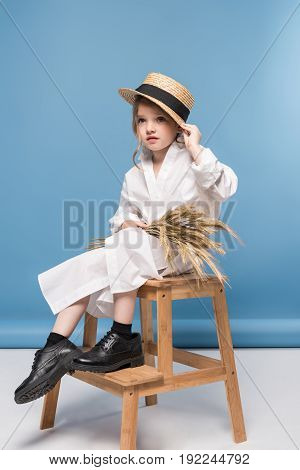 Beautiful Little Girl Sitting White Dress And Straw Boater Holding Wheat Ears, Studio Shot On Blue