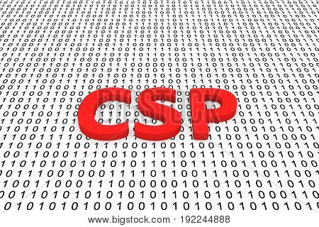 CSP in the form of binary code, 3D illustration