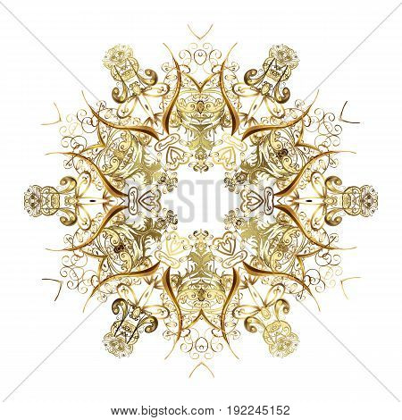 Snowflakes snowfall. Illustration. Falling Christmas stylized gold snowflakes. Beautiful vector golden snowflakes isolated on white background.