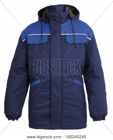 Protective working blue jacket with hoodie isolated on white background