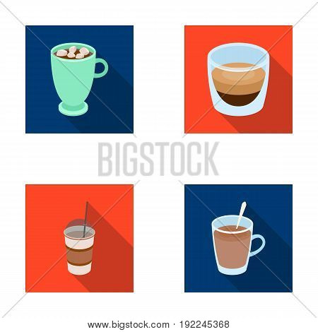 Ristretto, hot chocolate, latte take-away.Different types of coffee set collection icons in flat style vector symbol stock illustration .